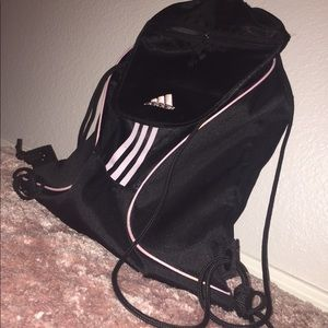 adidas black/pink drawstring bag